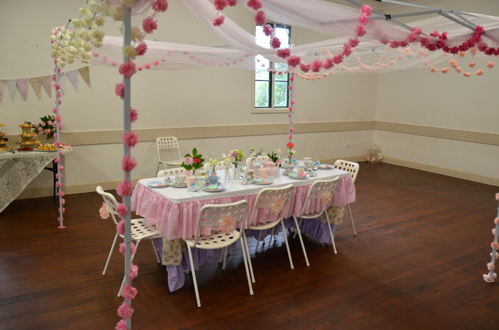 To Define Our U0027high Teau0027 Space We Erected Two Gazebos (one For Each  Birthday Girl) U0026 Draped Pink Tulle U0026 Rows Of Fabric Flowers (available At  ...