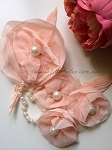 Chiffon applique - Pastel 'poppies & pearls'. Peach