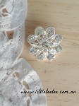 Starburst flower rhinestone button. x 1 (metal)