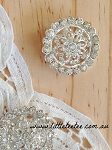 Art Deco rhinestone button. x 1 (metal)