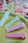 Pink Ribbon covered alligator clips. Grosgrain. x 2