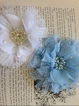 Flower & lace embellishment x1. white & blue