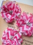 Pink chevron fabric flowers x 3. 2.5