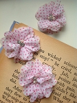 Pink on white polka dot fabric flowers x 3. 2.5