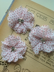 Red polka dot on white fabric flowers. 2.5