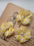 Yellow chevron fabric flowers. 2.5