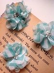 Aqua chevron fabric flowers. 2.5