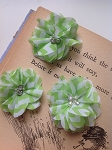 Green chevron fabric flowers. 2.5