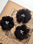 Black chiffon flower.  Felt backed. x1