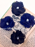 Fabric flower. Felt backed. x1. Navy & Black