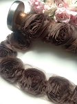 Chocolate fabric rose trim. x 1mtr