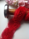Red fabric rose. x 1pc. 3