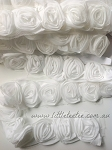 White Chiffon Rolled Roses on mesh x 1 mtr