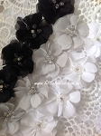 Black/grey - Small beaded flower. x1