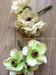 Synthetic Poppies. x 6 stems Ivory