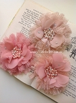 Flower & lace embellishment x1. blush & fawn