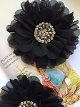 Empress beaded flower x 1. Black