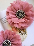 Empress beaded flower x 1. Deep English Rose