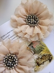 Empress beaded flower x 1. Heirloom Cream