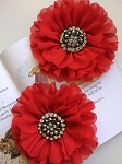 Empress beaded flower x 1. Red