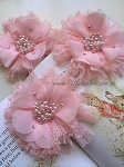 Flower & lace embellishment x1. Baby Pink