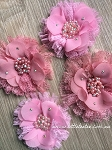 Flower & lace embellishment x1. Pink & English Rose