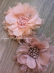Flower & lace embellishment x1. Mocha & Peach