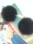 Tulle puffs. Fabric flowers x 2. Black