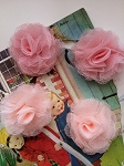 Tulle puffs. Fabric flowers x 2. Pinks