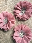 Large shabby flower x 1. Dusty Pink