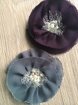 Large shabby flower x 1. Grey & Plum