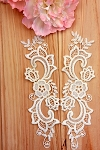 French lace applique pair. Off White