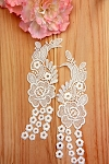 Floral lace applique pair. Off White