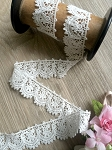Non-stretch White cotton lace - 3cm wide. 1mtr