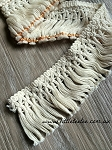 Cotton tassel fringe. 5cm White & Natural