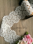 Non-stretch White French lace - 12cm wide. 1mtr
