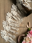 Non-stretch White Hanging Flowers lace - 12cm wide. 1mtr