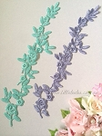 Lace applique. Icy blue & Lavender. 29cm