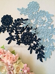 Lace applique. Blue & Navy. 26cm