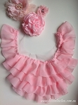 Chiffon ruffled neck trim - Missy. LIGHT PINK
