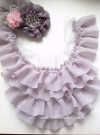 Chiffon ruffled neck trim - Missy. LIGHT GREY