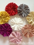 Sequin puffs. Fabric flowers x 2