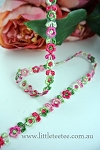 Embroidered pink/green flower trim.0.8cm