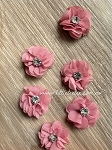 Petite flower pair. 3cm. Deep English Rose