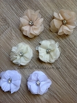 Fabric flower. Felt backed. 5cm. x1 Neutrals