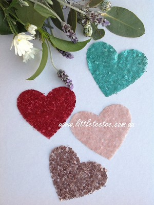 Sequin heart patches. Small. Set of 2