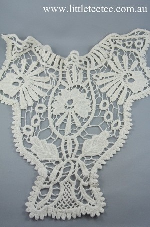 Large embroidered cotton applique x 1. Natural