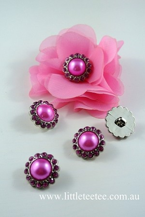 Pink Pearl Buttons with diamonties x 5