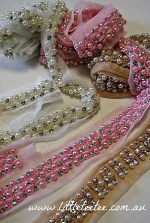 Diamanté and pearl trim. 2yards