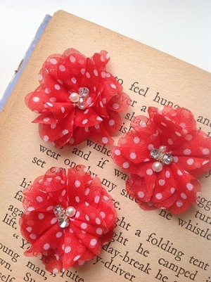 Red with white polka dot fabric flowers. 2.5